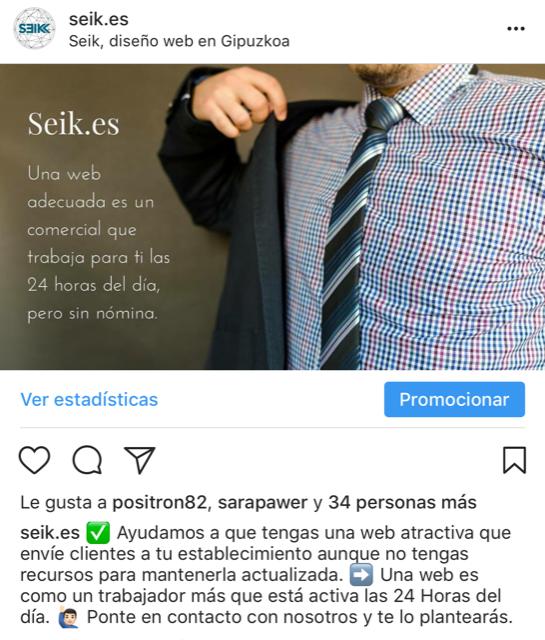 captura instagram de seik agencia de diseño web en gipuzkoa gestion de redes sociales