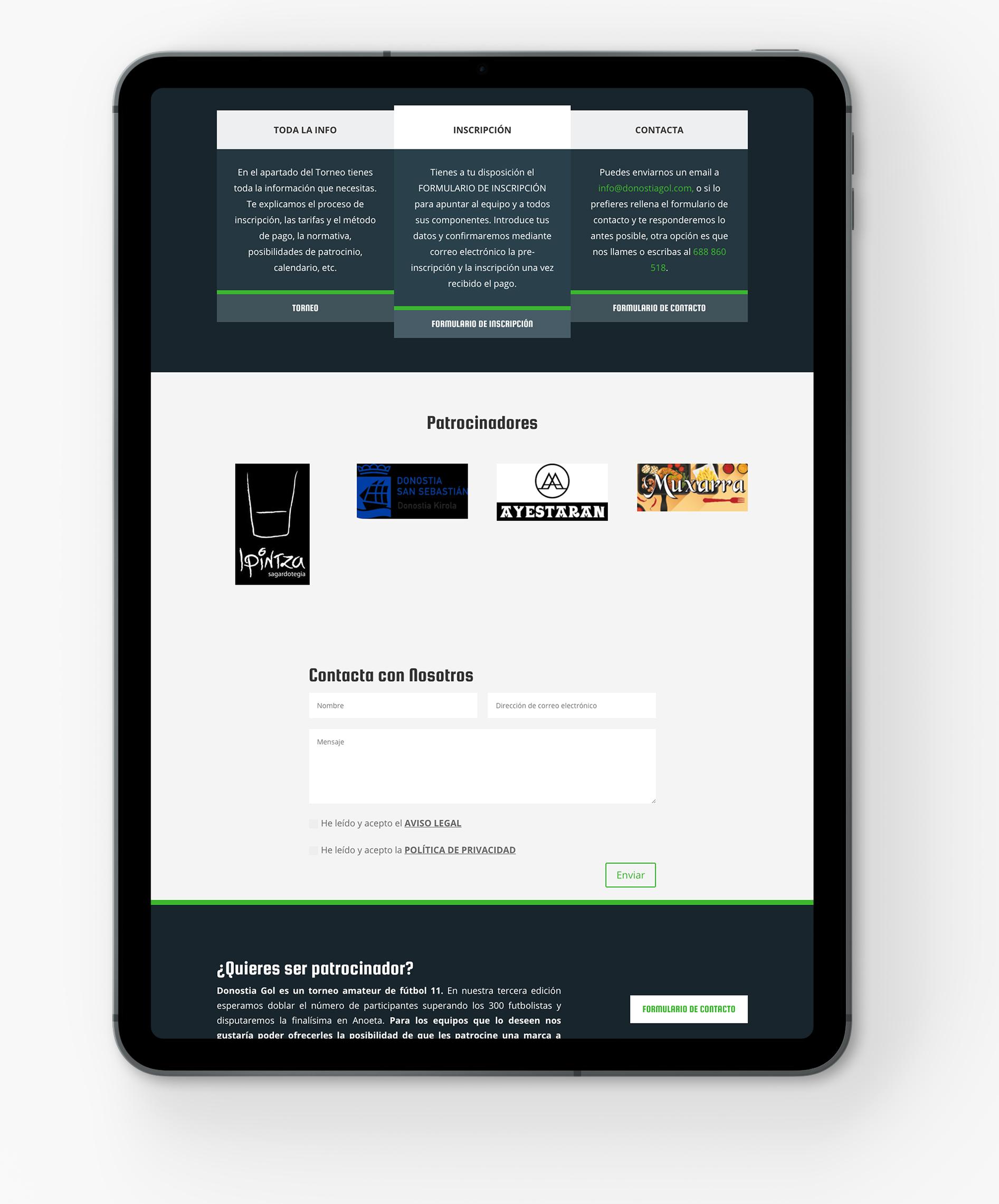 diseno-web-donostiagol.com-en-castellano-y-euskera-formulario-de-inscripcion-y-torneo-seik