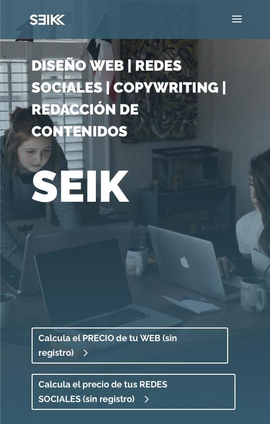 ejemplo de diseño web adaptable o responsive de seik.es redes sociales