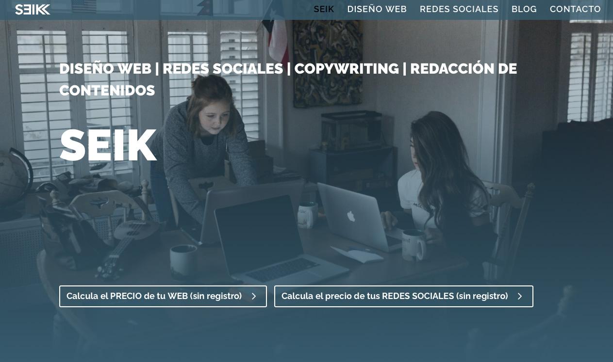 ejemplo de diseño web para página de escritorio u ordenador seik.es diseño web y redes sociales